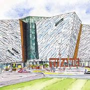 Antrim artist, Alan Coulter's Titanic Signature Building Belfast, Watercolour, A5. From a set of new watercolors now on the New Irish Art site.