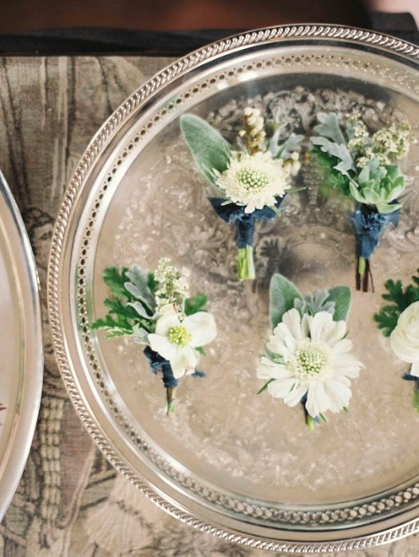 White and Sage Green Boutonnieres | Heather Hawkins Photography | Indigo and Pewter Wedding Palette