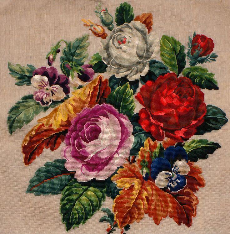 Antique Needlepoint Cushion Cover w Floral Bouquet