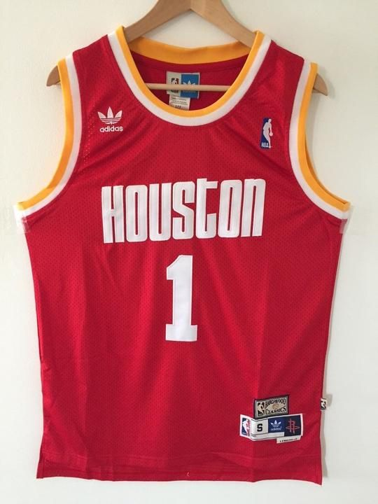6c4d4d562b13 Men 1 Tracy McGrady Jersey Red Houston Rockets Throwback Swingman ...