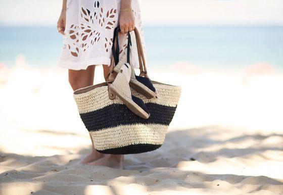 Stripes & espadrilles.Summer Dresses, Beach Accessories, White Covers, Beach Ready, Beach Bags, Garance Doré, Beach Vacations, Beach Styles