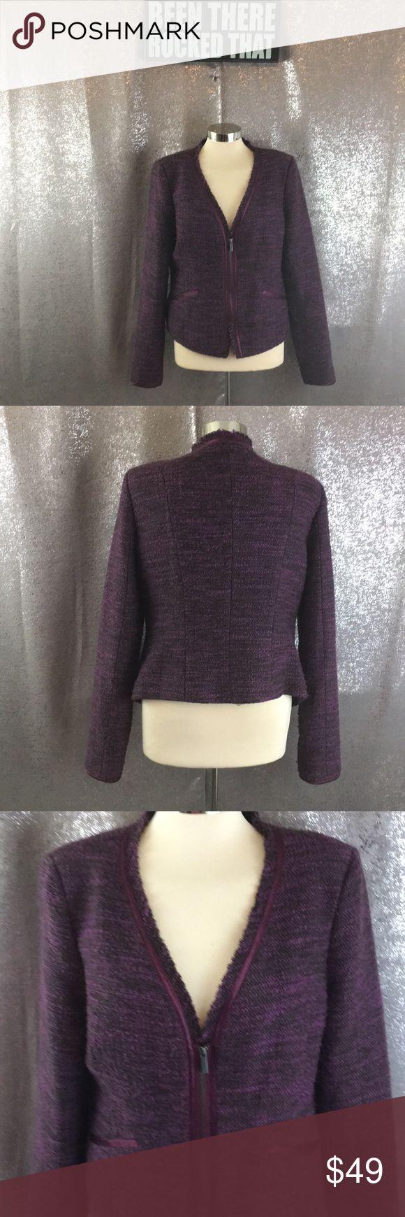 Bcbg tweed purple zip up blazer Excellent condition BCBG Jackets & Coats Blazers