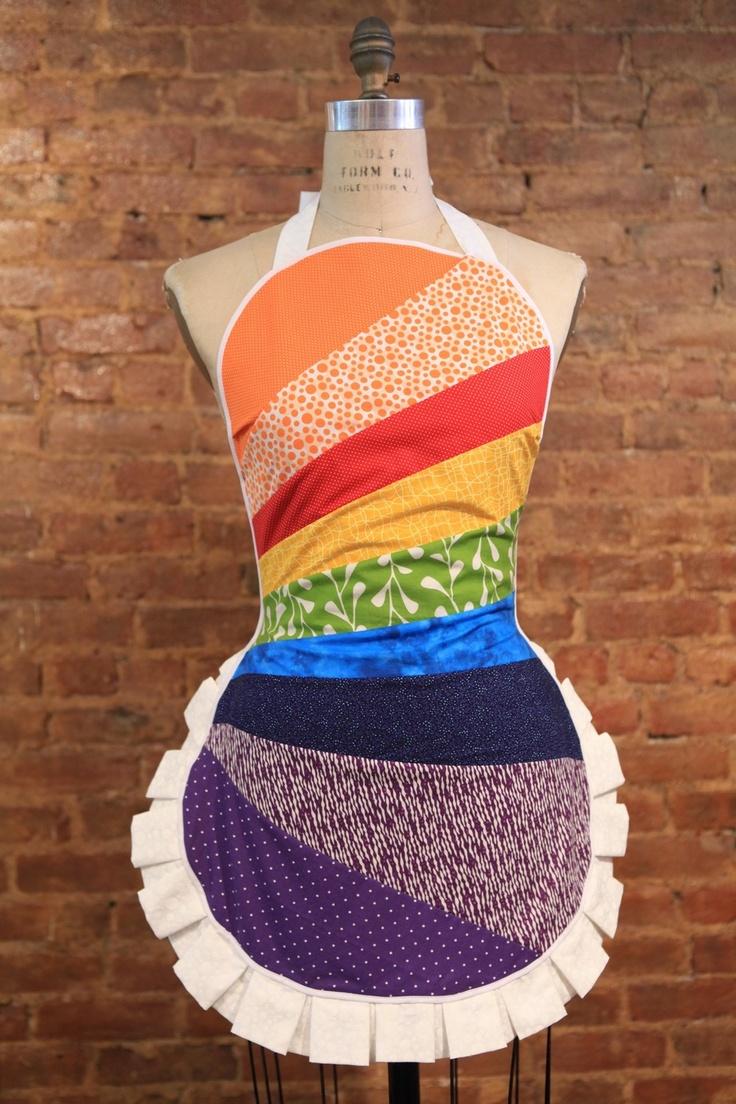 Rainbow Scrap Ruffle Apron