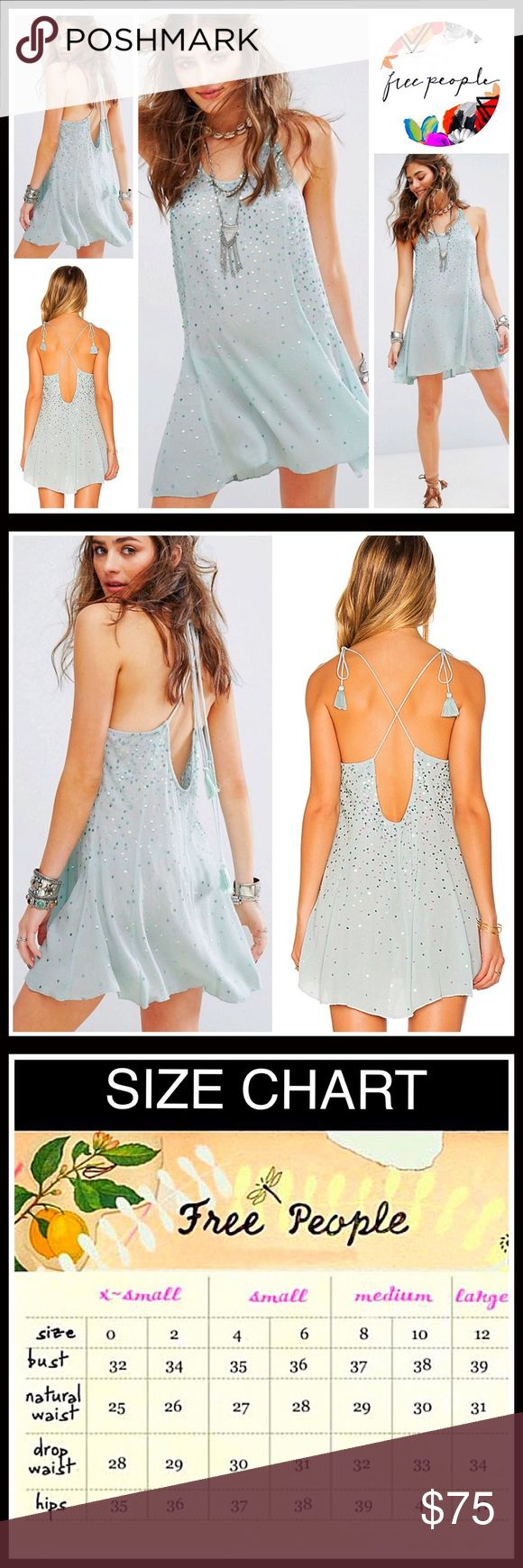 """FREE PEOPLE Embellished Slip Dress 💟NEW WITH TAGS💟  SIZING- S = 4-6, L = 12-14 FREE PEOPLE Embellished Slip Dress  * Crisscross back & thin adjustable straps  * Scoop neck; Tassel fringe details' Semi backless / open back style  * Slips over head' A relaxed fit   * Approx 30"""" long; A-line cut  * Lightweight fabric; Ideal for spring/summer layering; Partially lined *  Gorgeous embellished sequin detail Fabric-100% viscose; Color- Sky  Search # Vintage like ITEM# 🚫No Trades🚫 ✅ Offers…"""