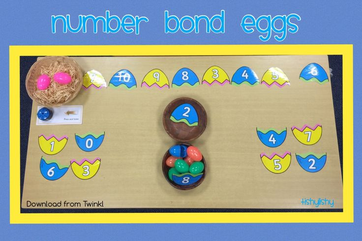 Number bond eggs downloaded from Twinkl. Using plastic eggs to make this abstract idea a little more concrete.