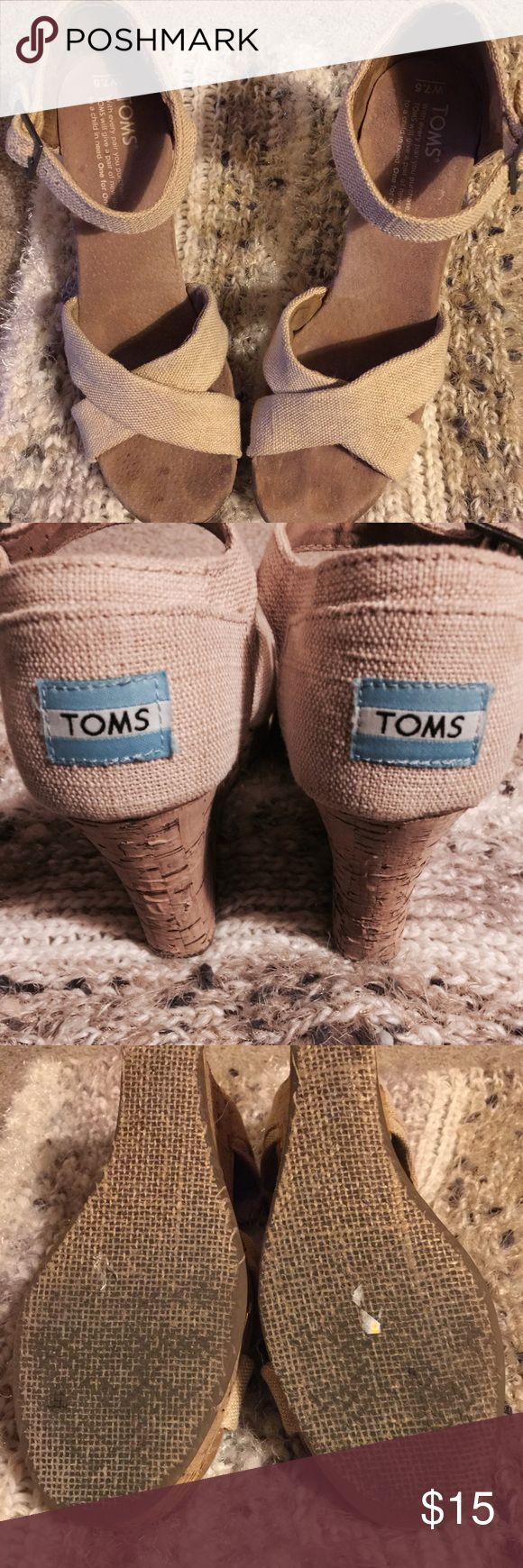 Toms beige wedges strappy sandals 7.5W Slight peeling in wedge. Some toe marks. Other than that, excellent Toms! Too big on me, hence the toe imprints! TOMS Shoes Sandals