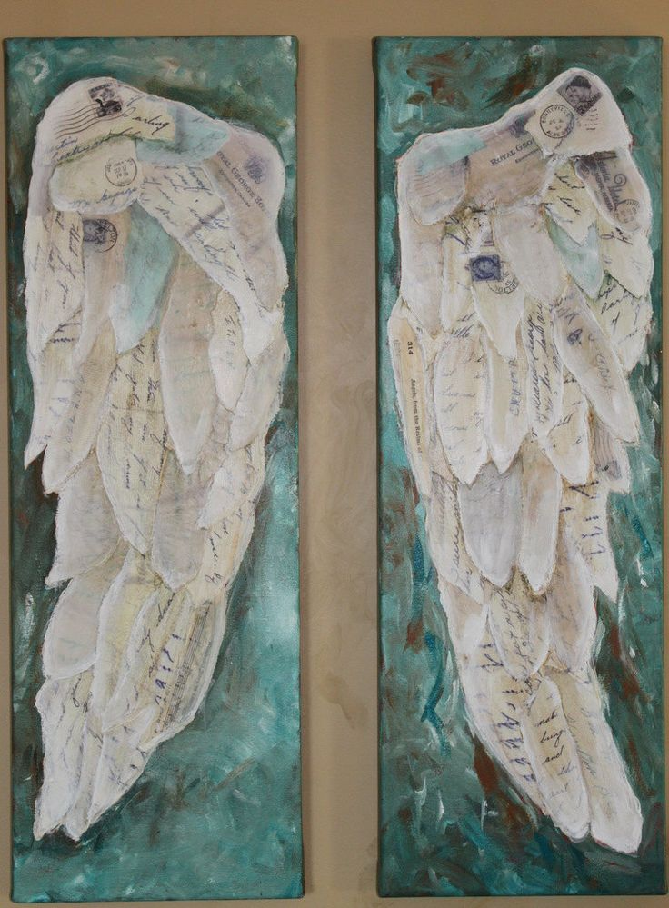 Angel  Wings two 8 x 24 canvas             On the Wings of Love II    collage art Treasury feature. $150.00, via Etsy.