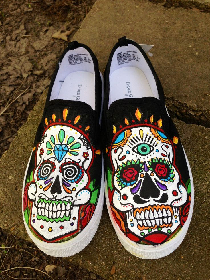 Sugar Skull shoes www.offbeatcanvas.com | The Offbeat ...