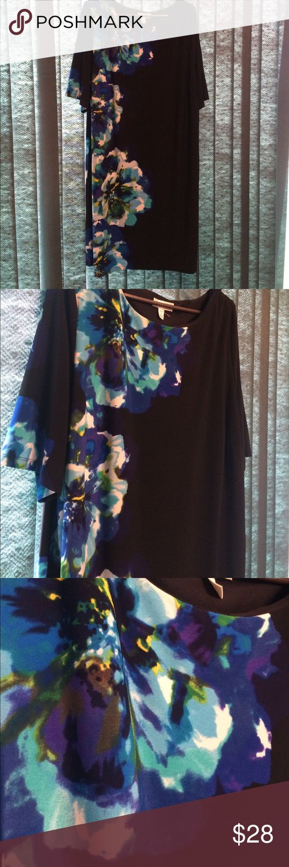 "Plus Size Dressbarn Dress Size 22 Black with beautiful vibrant floral design down one side. Really lovely. Approximate length 42.5"" chest 24.5"" Dressbarn Dresses"
