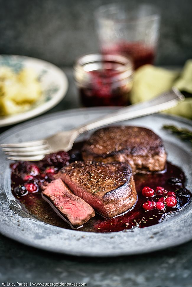 Venison Steak with Port and Red Berries | Supergolden Bakes.