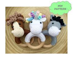 CROCHET PATTERN rattle horse extra donkey and unicorn by KNUFL