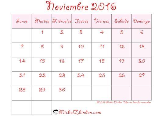 calendario noviembre 2016 rosado - Buscar con Google