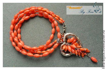 """Ожерелье """"Трепетное сердце-3"""" с кораллом - коралловый,оранжевый,сердце"""