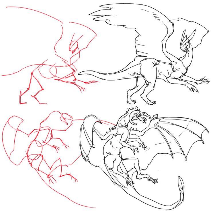 【イラスト】【基本編】それっぽいドラゴンの描き方~アタリを取ろう!~ by 須田デジタル(sudaaaaa)さん   tich