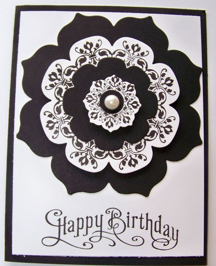 handmade birthday card in black and white ... this looks really sharp ... fills up the card ... like the use of solid color combined with stamped layers ... Daydream Medallions and Floral Framelits from Stampin' Up!