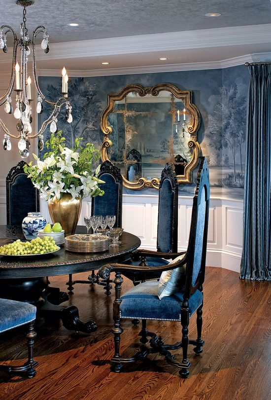 Glam dining room! Nancy-Hill-Blue-Dining Interior Design by Nancy Hill Interiors; Photography by Greg
