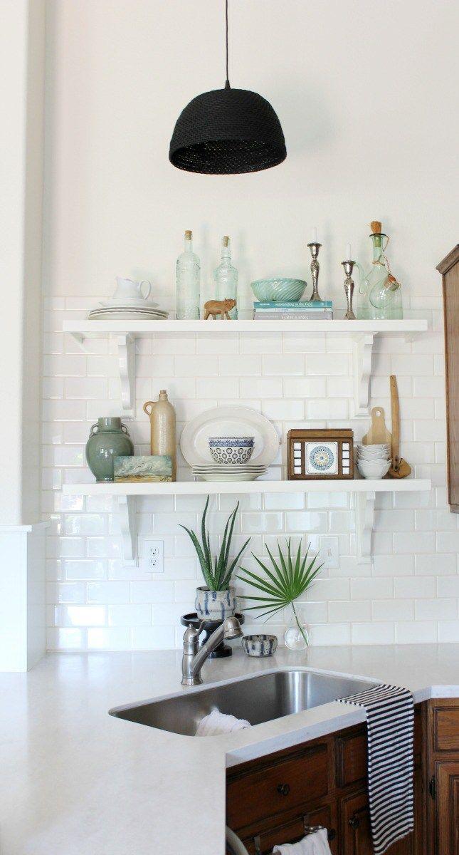 Make Your Own Basket Pendant light | DIY basket light | wicker light fixture | open shelving | subway tile | shelf styling | fan leaf palm