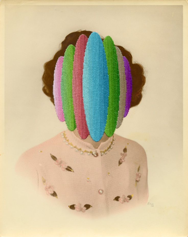 "Julie Cockburn, The Pacifier, 2013, Hand embroidery on found photograph, Approximately 8"" x 10"" (20.4 x 24.4 cm) © Julie Cockburn, Courtesy Yossi Milo Gallery, New York"