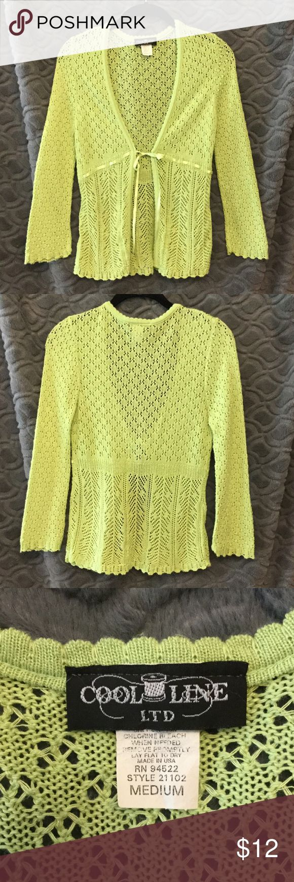 Cool Line lime green sweater, juniors size M Cool Line LTD sweater size M lime green ribbon for belt. Great condition. Cool Line Sweaters Shrugs & Ponchos