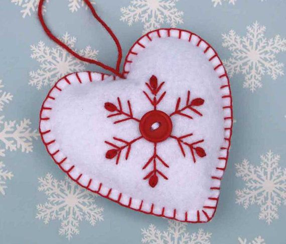 Felt Christmas Ornament,handmade Scandinavian Heart,Embroidered Snowflake decoration,red and white felt heart, Handmade felt heart ornament....