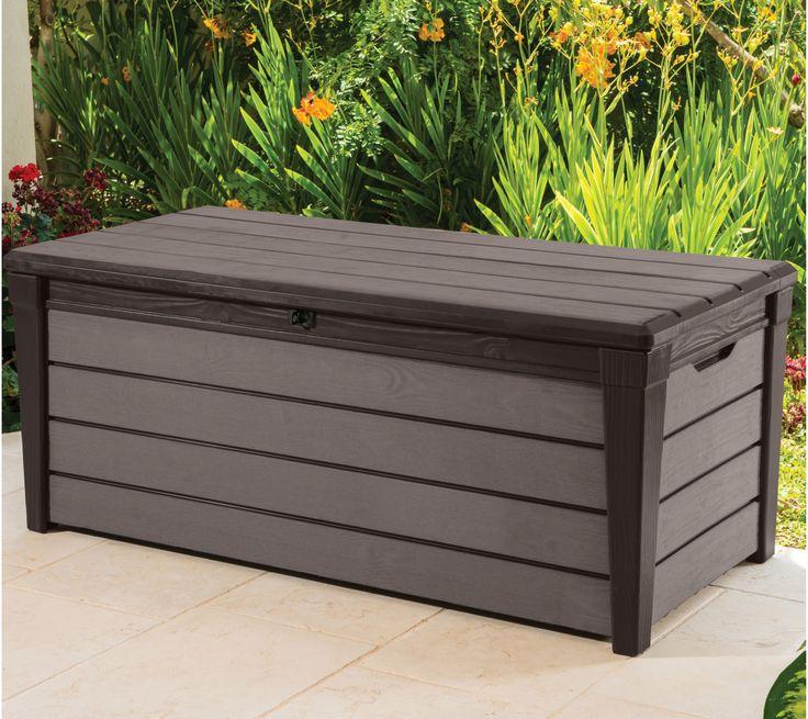 £114  Height0.603m Width1.45m Depth697mm Locking mechanismPadlock hasp Weight16.9kg Brushwood 454L Plastic Wood Effect Garden Storage Box | Departments | DIY at B&Q