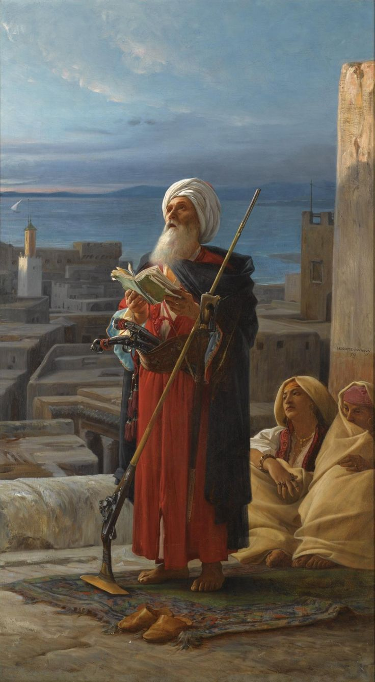 Recitation of the Noble Quran after prayer in medieval Tangier.  Art Jean Lecomte.