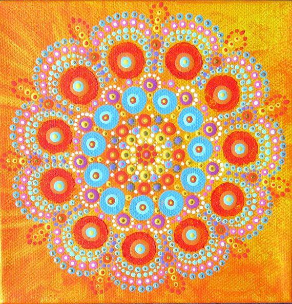 Mandala mini schilderij op doek, 6 x 6 inch, klaar om te hangen originele kunstwerken, oranje geel blauw, stip bloem design schilderij