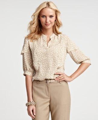 fresh.Professional Look, 3 4 Sleeve, Dots 3 4, Shirts, Polka Dots Skirts, Work Style, Fall Dots, Anne Taylors, Christmas Photos Shoots