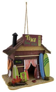 Tiki Surf Club Beach Hut Birdhouse beach-style-birdhouses