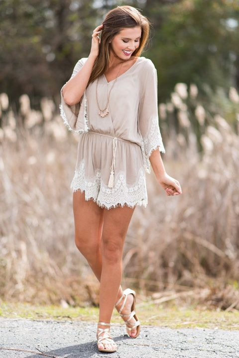 """""""Waiting For You Romper, Latte""""This gorgeously feminine and romantic romper is here, waiting for you! All it wants to do is make you look and feel as amazing as possible! #newarrivals #shopthemint"""