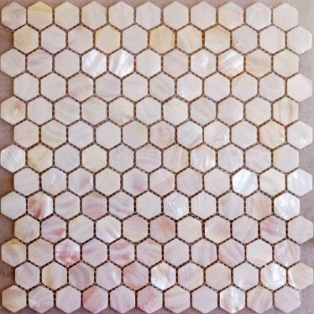 Hexagon Pink Mother Of Pearl Mosaic Tiles Natural Pink