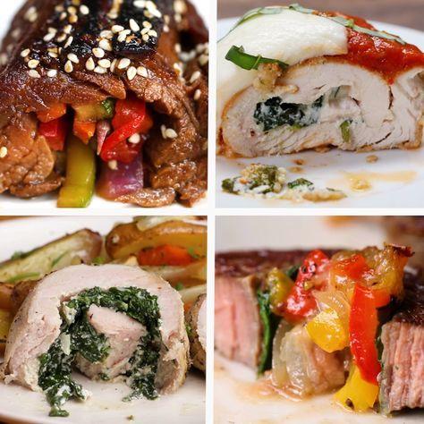 Dinner Roll-Ups 4 Ways // #rollups #chicken #onepan #dinner #beef #food