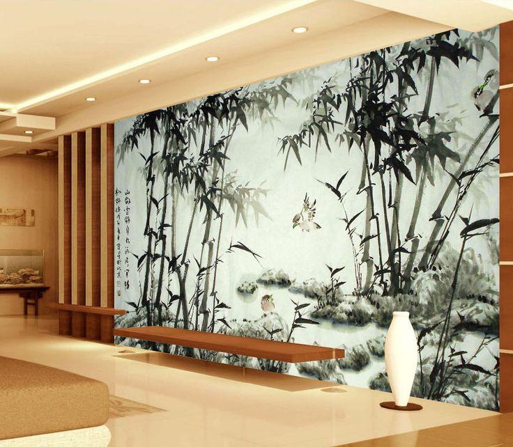 """Papier peint chinois - """"Les bambous est les oiseaux"""" en noir et blanc"""