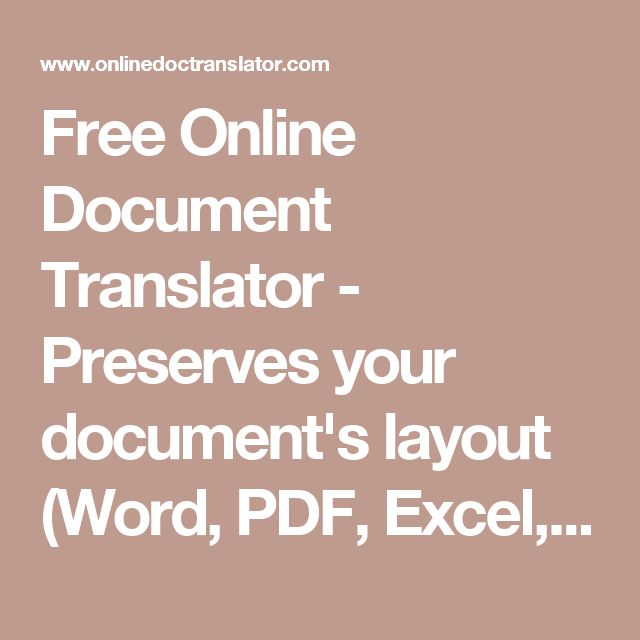 Free Online Document Translator - Preserves your document's layout (Word, PDF, Excel, Powerpoint, OpenOffice,…