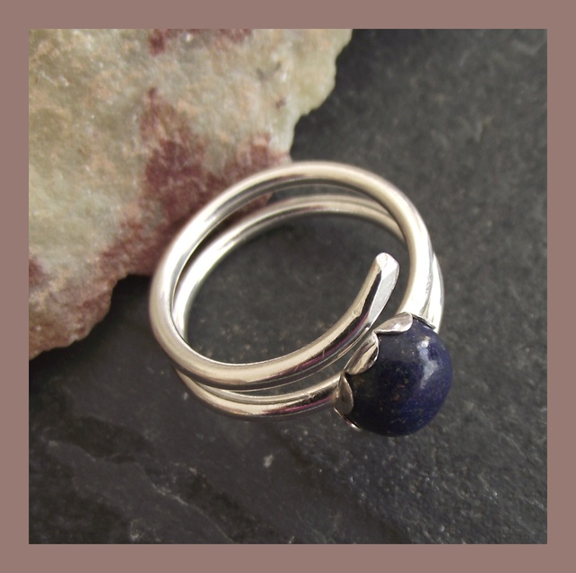Sterling Silver & Lapis Lazuli ring - freesize - adjustable  £26.00