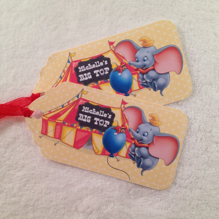 10 - Dumbo Personalized Party Favor Gift Tags Birthday Party Favor Dumbo Party Supplies by MichelleAndCompany on Etsy https://www.etsy.com/listing/217996041/10-dumbo-personalized-party-favor-gift