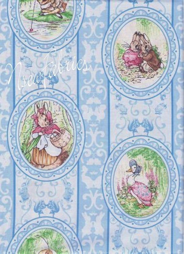 Beatrix Potter Fabric Benjamin Bunny Victorian CAMEOs on Blue. $24.99, via Etsy.