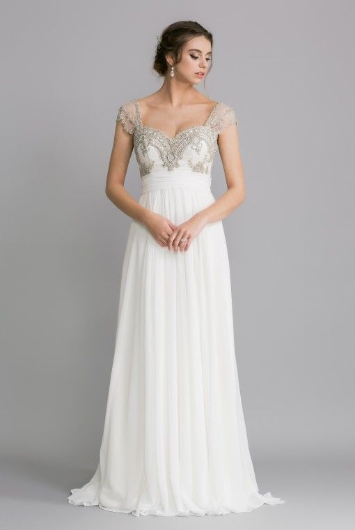 OCA628T TARA    This dress enjoys a heavily beaded French lace sweetheart bodice, with lace straps that can be worn on or off the shoulder.  The soft gathered chiffon skirt flows out from the higher cut bodice in a silhouette that elongates and flatters many.