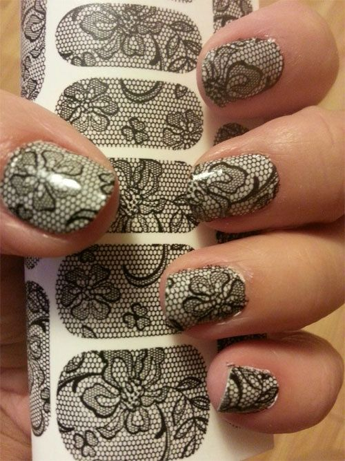 BLACK LACE Nail Art Decals - Full Nail Decoration Long and Short Nails - BLACK Transparent  Waterslide - Not Stickers on Etsy, $6.39