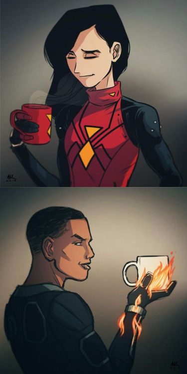 Spider-Woman & The Human Torch Drinking Coffee - Andrew Kwan