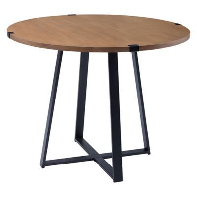 Forest Gate Sage 40 Round Metal Wrap Dining Table In English Oak