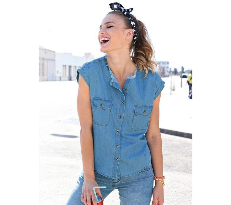 Džínová košile s třepením | modino.cz #modino_cz #modino_style #style #fashion #halenka #tunika #kosile