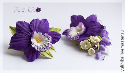 Брошь с фиолетовой орхидеей. - фиолетовый,кремовый,ванильный,орхидея,фрезия