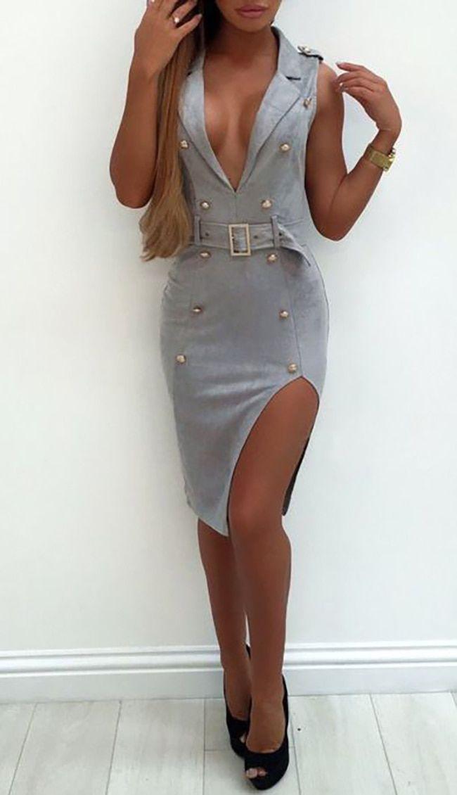 ea3fb6e5c63 Sexy Suede V Neck Mini Dress Gray (5-9)