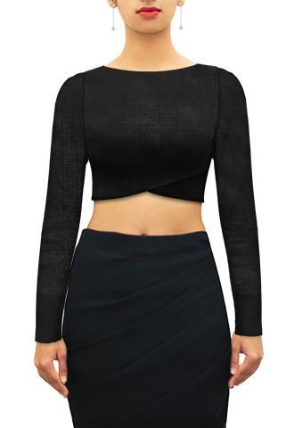 Black crop top. Customize further or Design your own now on houseofblouse.com #saree #blouse #sareeblouse #blousedesigns #desi #fullsleeves #croptop #indianfashion #india
