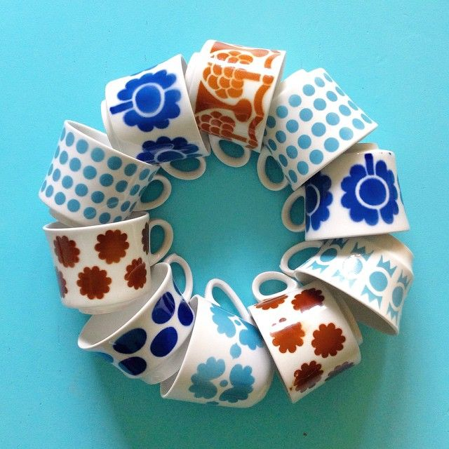 Arabia Finland vintage coffee cups
