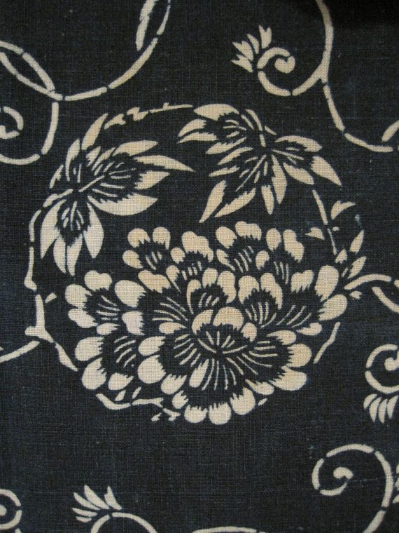 Antique Japanese cotton indigo dyed katazome.