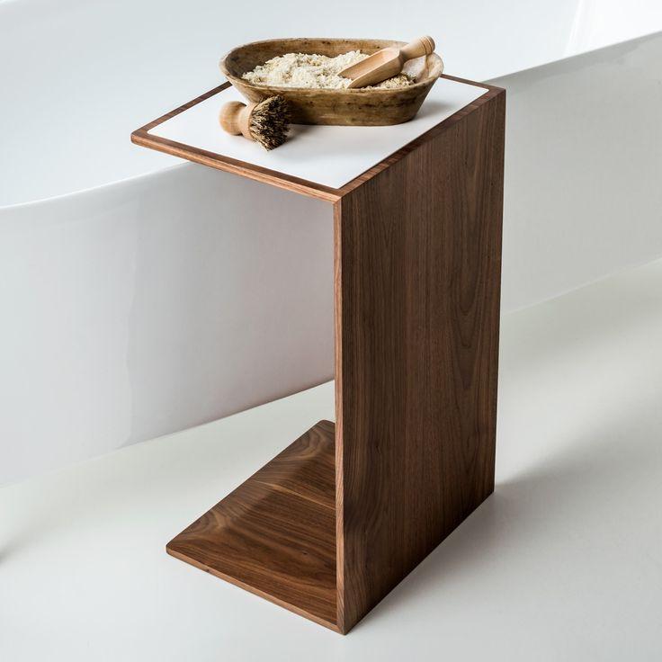 Wooden Design | Stunning Bathroom With Wooden Side Table |  #bathroominteriordesign #bestbathrooms #bathroomdesign