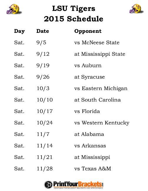 Printable LSU Tigers Football Schedule 2015