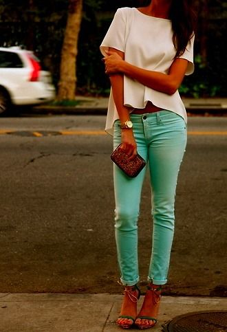 want this outfit: Mint Pants, Mintgreen, Colors Pants, Mint Green, Colors Jeans, Outfit, Mint Jeans, Mint Skinny, Colors Denim